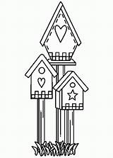 Coloring Bird Pages Cute Birdhouse Drawing Shaped Popular Getdrawings Coloringhome sketch template