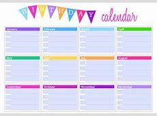 Birthday Calendar Templates calendar template excel