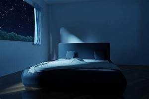 3d, rendering, of, bedroom, with, unmade, and, rumpled, bed, in, the, stars, night, stock, photo