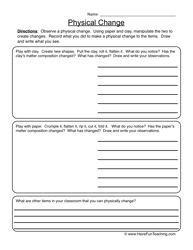 physical changes worksheet 2 science education matter worksheets science worksheets