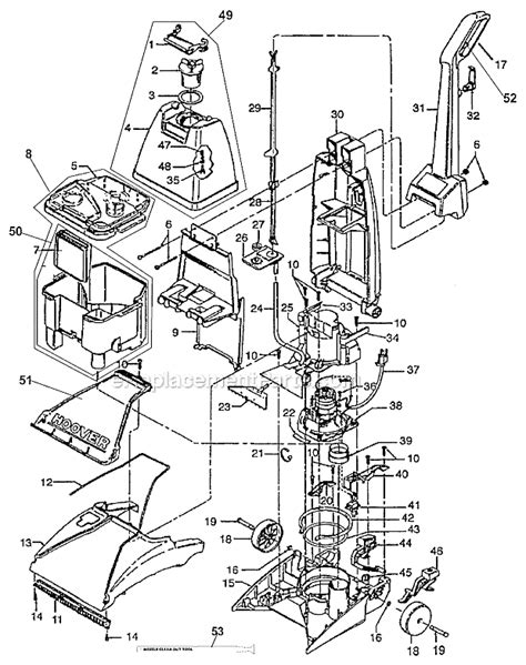 rug doctor parts hoover fh50021 parts list and diagram ereplacementparts