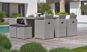 Salon Jardin Encastrable : salon de jardin encastrable design en r sine tress e grise 10 places ~ Maxctalentgroup.com Avis de Voitures