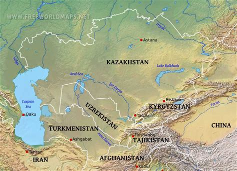 central asia physical map google paieska maps