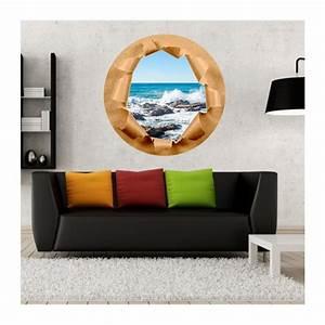 Trompe L Oeil Mur : stickers trompe l 39 oeil mur papier d chir rocher mer de bretagne ~ Dode.kayakingforconservation.com Idées de Décoration