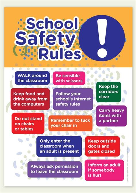 a bright a4 poster with school and classroom safety 823 | 00535d9547d451bafdf235b8dbb6c7e8 school safety safety rules