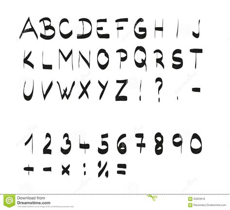 number of letters in alphabet handwritten calligraphic black alphabet font stock vector 50175