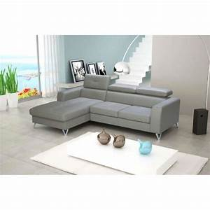 justhome rio canape d39angle 179x250 cm en cuir gris With canape angle 250 cm