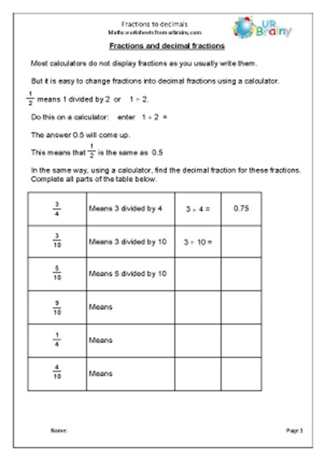 maths worksheets age 8 9 fractions and decimals maths