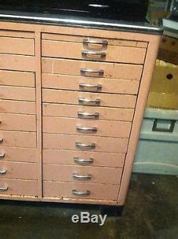 vintage  drawer metal enamel dentist dental apothecary cabinet chest box