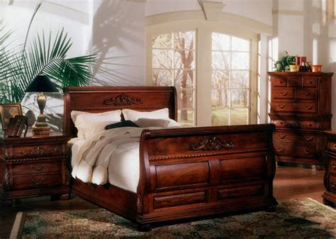 5 Pc Queen Bed Hand Carved Solid Mahogany Wood Sleigh