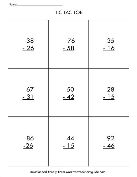 Subtracting Two Digit Numbers With Regrouping Worksheets