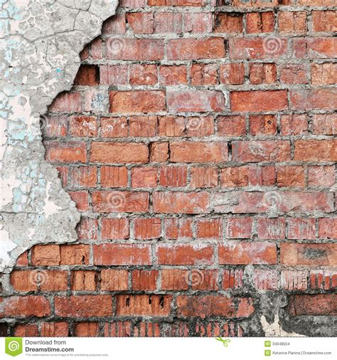 cracked concrete brick wall stock photo image