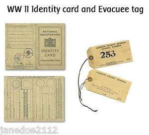 ii world war  identity card  evacuee tag ks