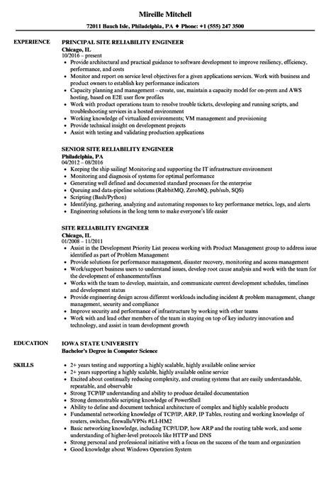 Site Engineer Resume by Site Reliability Engineer Resume Sles Velvet