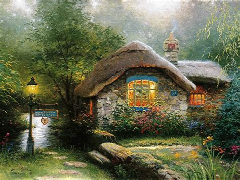 home interiors kinkade prints hd original prints oil paintings on canvas thomas kinkade in the woods the cottage 18x24 in