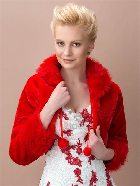 Dazzling Long Sleeve Red Fax Fur Wedding Jacket : Tidebuy.com