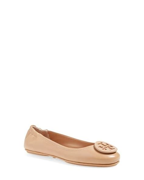 tory burch minnie light oak tory burch 39 minnie 39 travel ballet flat with logo in brown