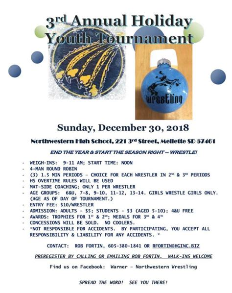 annual holiday youth tournament mellette sd brookings youth