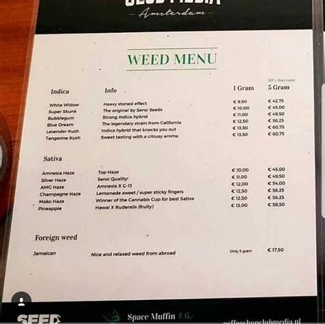 I have an menu from the old chocolata and gee whiz.it ain't inflation we're referring to here. Amsterdam Coffeeshop Menu 2018   Coffee shop, Menu, Amsterdam