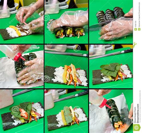how to make kimbap kimbap making collage stock photos image 15381703