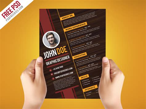 Graphic Design Resume Template by Free Psd Creative Graphic Designer Resume Template On