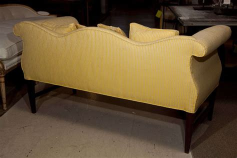 camel back settee vintage settee with camel back and rolled arms at 1stdibs