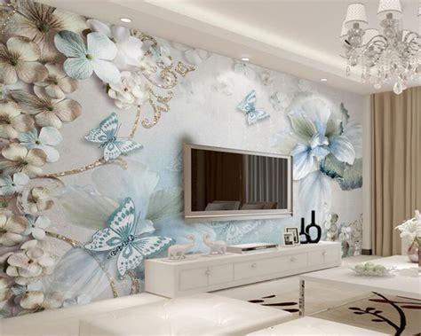 Beibehang Custom 3d Wallpaper Stereo Light Blue Flower