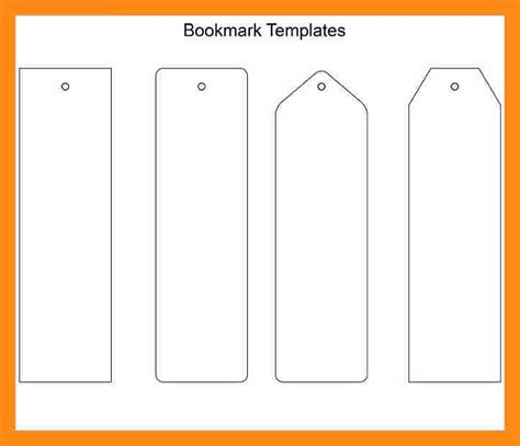 blank bookmark template for word