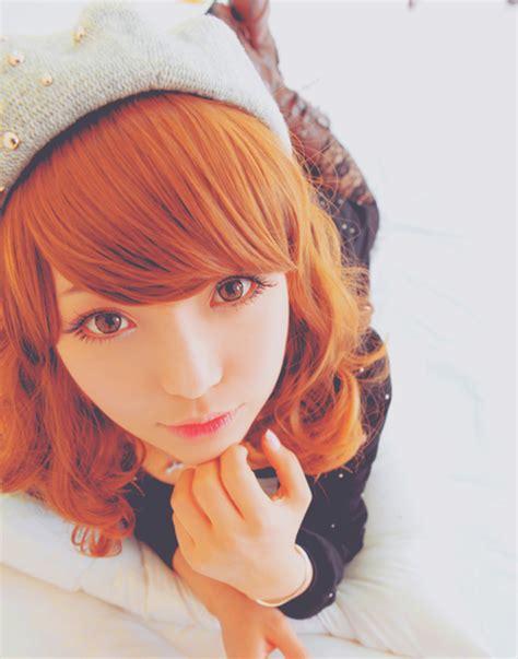 cute asian hair short orange curly bangs hair