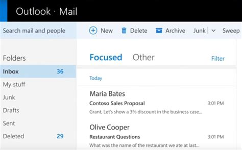 Office 365 Mail Focused by Windows 10 S Mail App Users Start Seeing The Focused Inbox