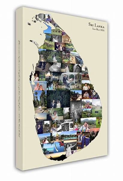 Shape Country Map Collage Canvas