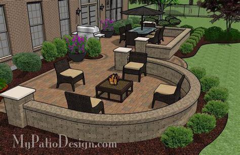 Beautiful Backyard Patio Design With Seat Wall