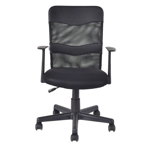 modern ergonomic office chair black mesh mid back