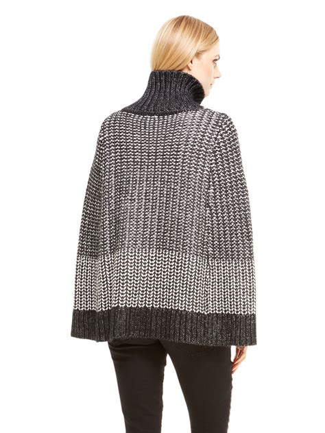 s cape sweater dkny zip front cape sweater in black lyst
