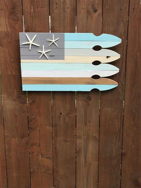 Diy, frame, wall decor, rustic. Beach decor-coastal wood flag, nautical decor, starfish decor, beach house gift, Americana decor ...
