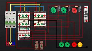 Three Phase Dol Starter Control And Power Wiring Diagram