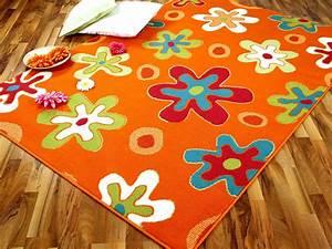 teppich modern trendline orange blumen 4 grossen teppiche With balkon teppich mit tapete blumen modern