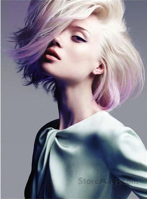 Sophisticated Rocker Dip Dyed Lavender Blonde Pastel Hair