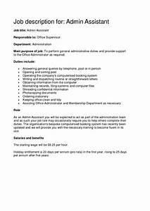 administrative assistant job description office sample With admin assistant job description template