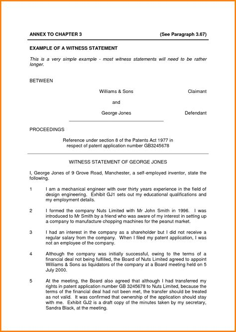 write  witness statement case statement
