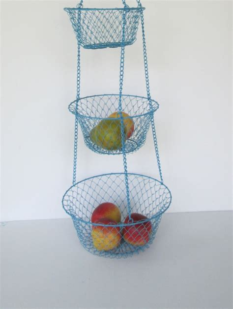 blue three tier hanging wire baskets by goodvintage on etsy