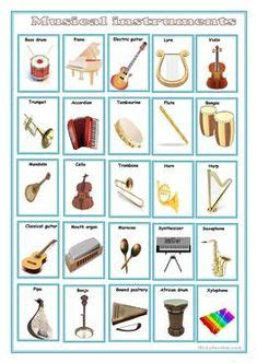 musical instruments names  pictures english study