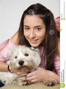 Hugging your pet girl stock image. Image of affection ...
