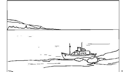 Boot Auf See Ausmalbild & Malvorlage (landschaften