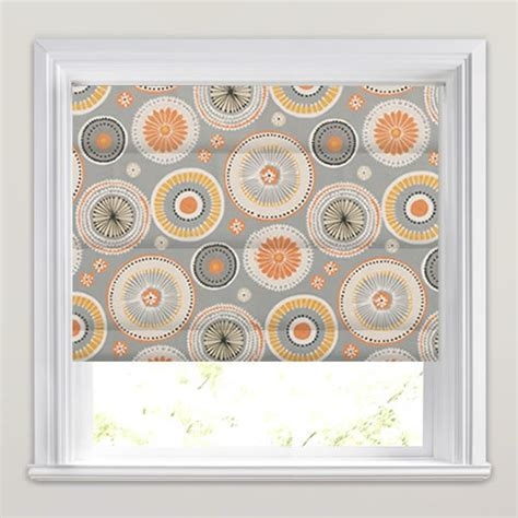 vertical blind headrail valance orange yellow beige grey circle patterned