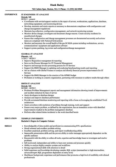 Resume T by I T Analyst Resume Sles Velvet