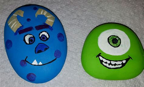 monsters  painted rockssully  mike painting rocks painted rocks rock painting