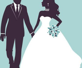 sina  pengantin pernikahan vektor siluet vektor