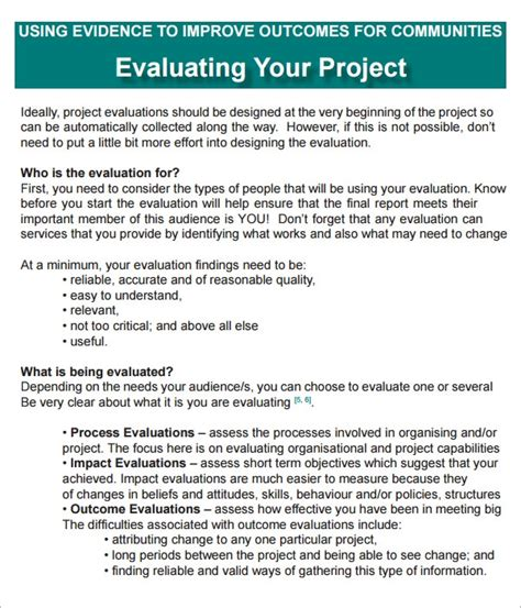 project evaluation    documents