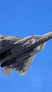 Su-57 multi-role fighter flight, blue sky 750x1334 iPhone ...